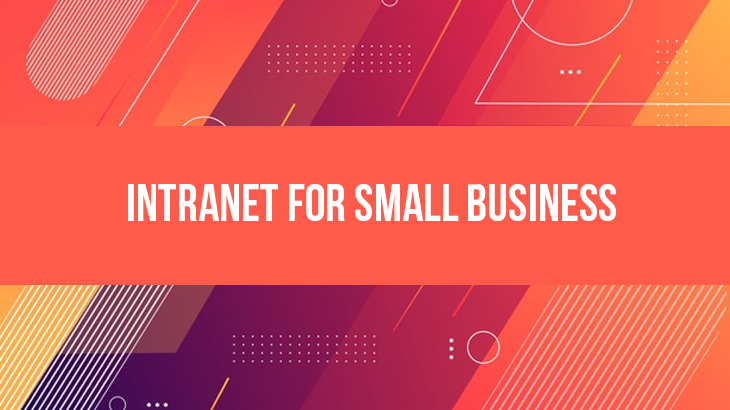 a text called intranet for small business in a red background