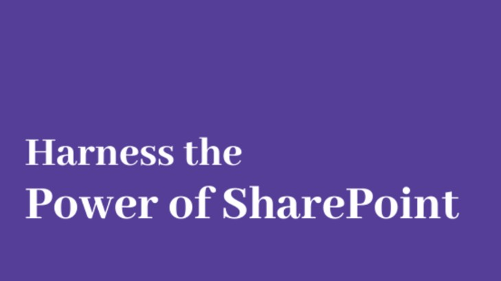 a text harness power of sharepoint in a violet background